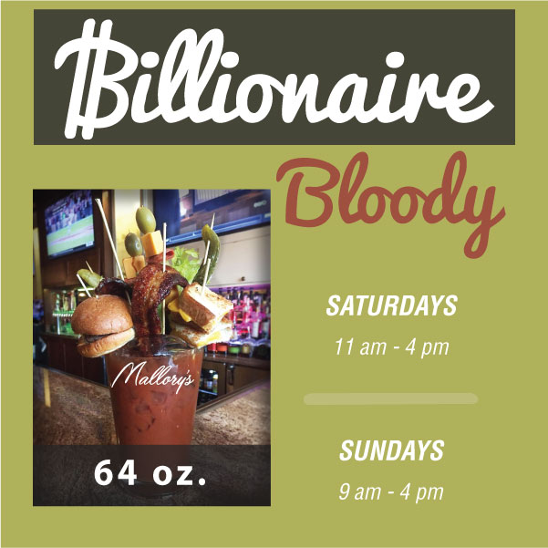 BILLIONAIRE BLOODY MARY, 64 OZ. MALLORYS ROOFTOP, HUDSON, WI