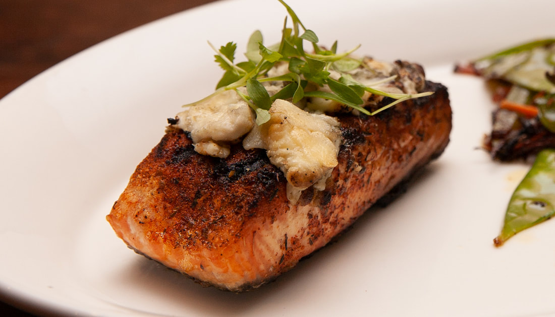 Blue Circle Salmon Picture -- Mallory's Restaurant & Rooftop Bar, © 2020